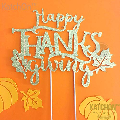 KatchOn Happy Thanksgiving Gold Cake Topper - Pack of 6, Glitter, No DIY Required | Great for Thanksgiving Day Party Decoration, Gold Themed Birthday, Baby Bridal Shower, Home Office Décor, Outdoor