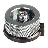 k-outdoor ガス缶 変換 アダプター 変換プラグ ガスボンベ 家庭用/アウトドア用 漏れ防止 アルミ合金 (グレー)
