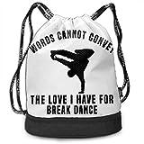JISO-SV バンドルバックパック ブレイクダンス 英字 多機能のバッグ ショルダー 巾着 ジムサック アウトドア リュックサック 大容量 男女兼用 丈夫安全 快適