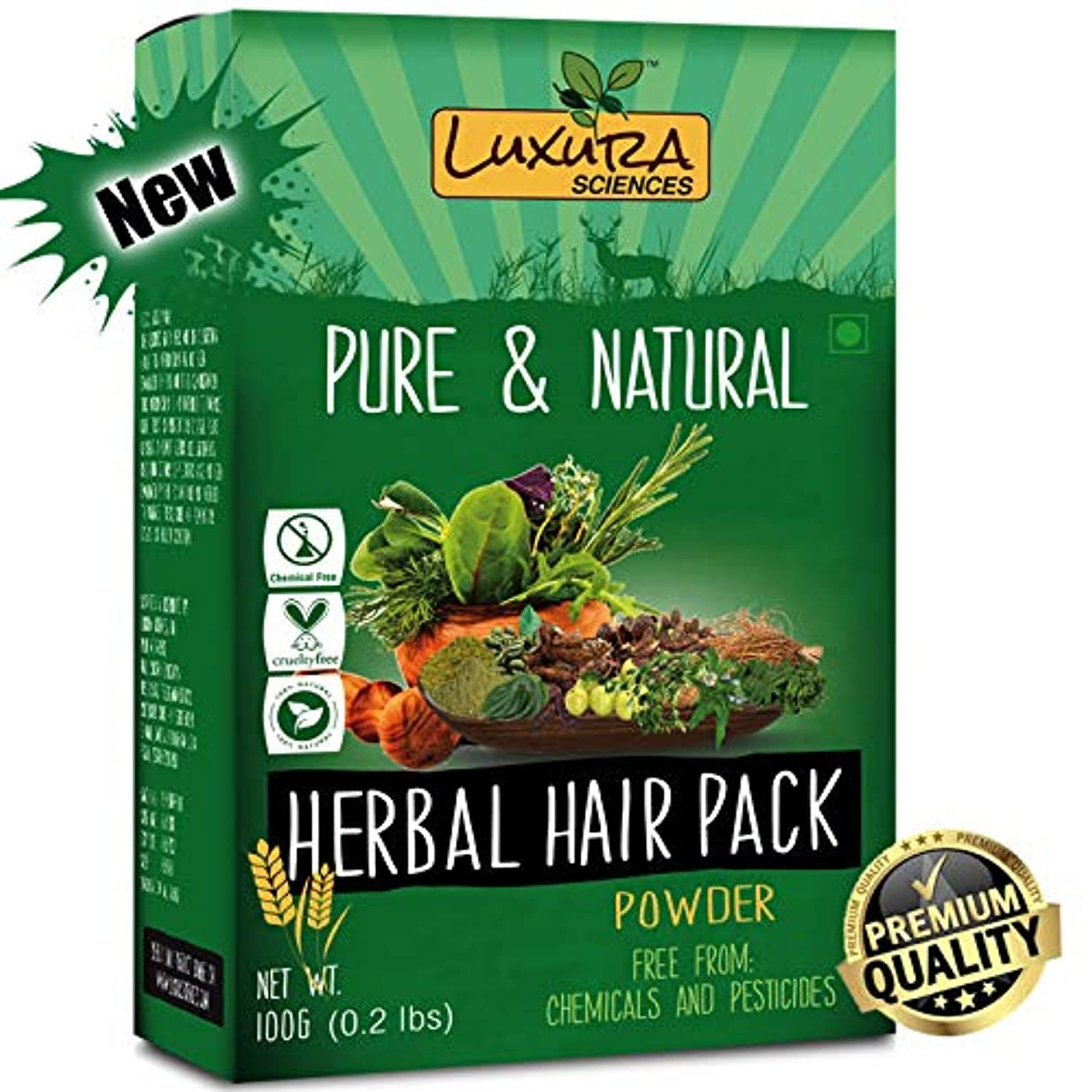 バーチャル蛇行正義Luxura Sciencesナチュラルヘアパック、ドライヘア、育毛、落下、破損した髪の修理ヘアマスク(100グラム)