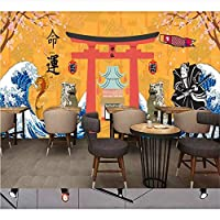 Ansyny カスタム壁紙壁画レトロ日本の伝統文化レストラン寿司店の背景壁絵画デコ-260X175CM