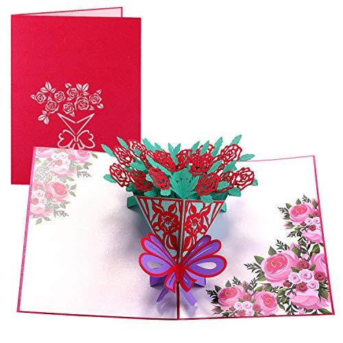 Paper Spiritz グリーティングカード 立体ポップアップカード バレンタインカード 誕生日カード 感謝状 感謝祭 クリスマス 手作りのメッセージカード 母の日 結婚祝い 封筒付き