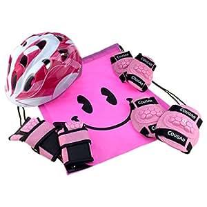 J@G ヘルメット こども用 子供 自転車 超軽量 調整可能 プロテクター セット ナップサック付き ペダルなし自転車と一緒に (1.XSサイズ ピンク)