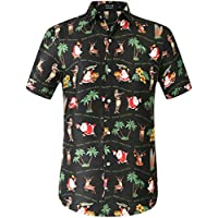 SSLR Men's Xmas Holiday Button Down Ugly Hawaiian Christmas Shirts