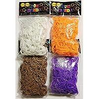 ルームバンド(Loom Bands) ミックスカラー(香り付き) 600×4袋 2400個セット ビーズおまけ付き 【並行輸入品】2400-vp (ホワイト?オレンジ?ブラウン?パープル)