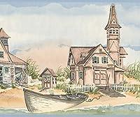 York Wallcoverings サンディショア行ボート馬カートワイド壁紙ボーダーレトロなデザインでヴィンテージ村、ロール15' X 9