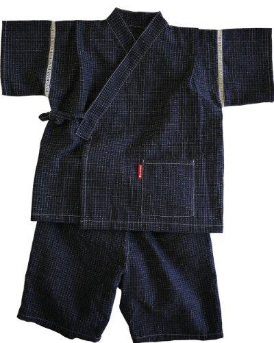 日本製 お子様用久留米ちぢみ織り文人柄甚平 子供甚平 キッズ サイズ:130 カラー:紺