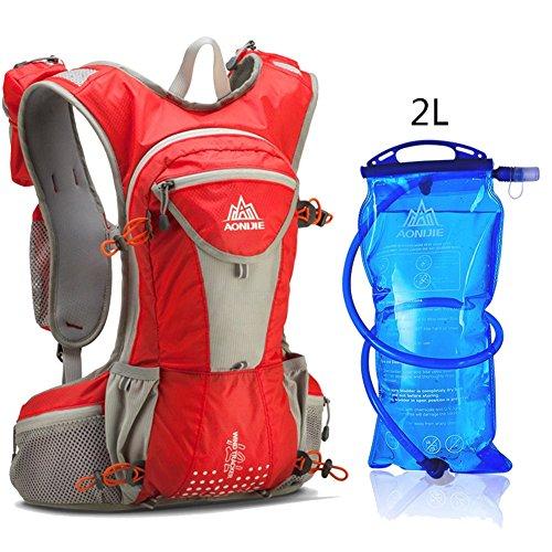AONIJIE ハイドレーションバッグ ランニングバッグ サイクリングバッグ ウォーキング用バッグ 超軽量 自転車バックパック リュック 12L (レッド)