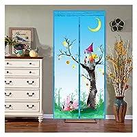 居間の子供部屋のために適した磁気スクリーンのドア、ポリエステル磁気カーテン、ヴェルクロカーテン、超静かな縞、暗号化、反蚊または防虫の磁気柔らかいドア,Blue_2Pcs,90*210cm