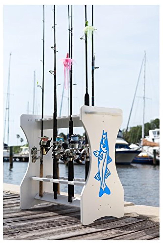 束顕現配列Snook Engraved釣りロッドラック – 防水 – 整理と保存最大24釣りロッドとリールonこの防水釣りポールストレージ