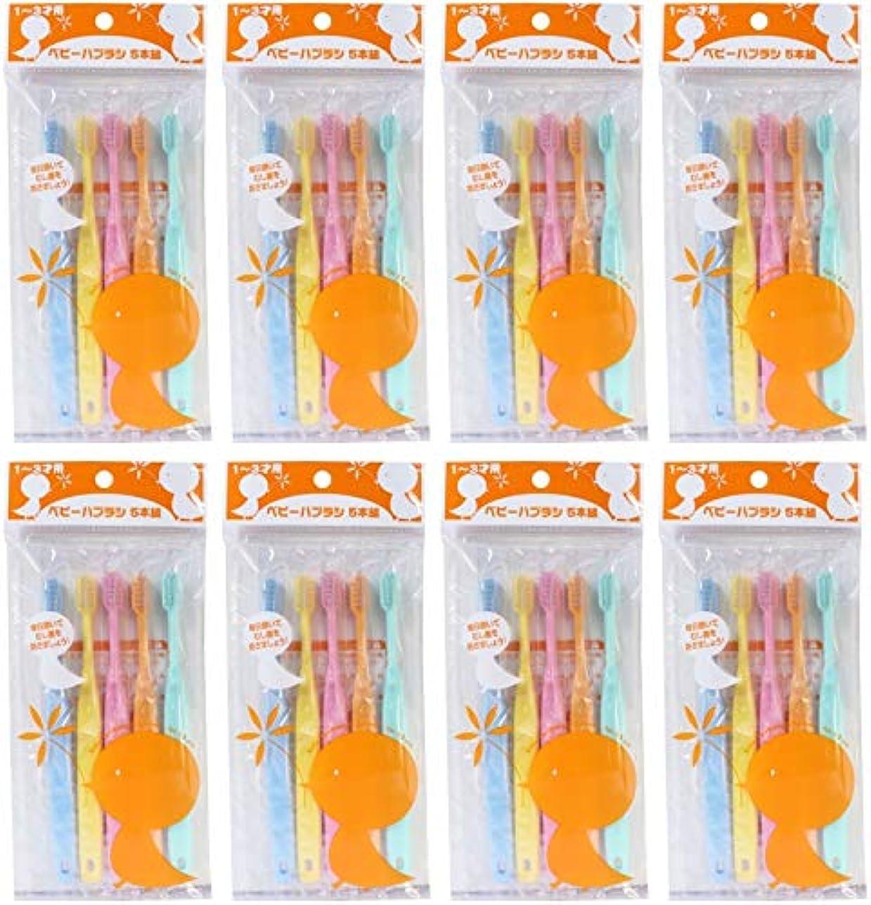 厚い鍔衝突コース【まとめ買い】ファイン ベビー歯ブラシ 5本組 1~3才用【×8個】
