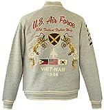 (アビレックス)AVIREX スカジャン スタジャン スウェット刺繍ミリタリー ジャケット AVIREX JKT (XL, GRAY)
