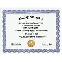 Golfer Golf Degree: Custom Gag Golfing Diploma Doctorate Certificate (Funny Customized Joke Gift - Novelty Item) by GD Novelty Items [並行輸入品]