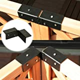 ラティスや木製フェンス同士を連結できる コーナー連結金具 1個 ネジ付 ブラック LV-CN16
