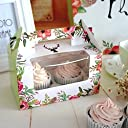 (50) - Clear Bakery Pastry Food Grade Flower Garden Design Cardboard 2 Cavity Cupcake Box With Window And Handle Wholesale (50)