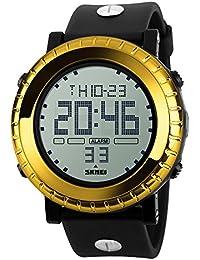 03e8e785ac SKMEI 腕時計 メンズ 大きい文字盤 スポーツ 3気圧防水 デジタル表示 LEDライト 日付 曜日