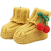 Durable Lovely Winter Baby Shoes Warm Cute Cherry Indoor Outdoor Socks Yellow