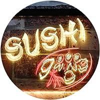 Sushi Japanese Food Restaurant Dual LED看板 ネオンプレート サイン 標識 Red & Yellow 300 x 210 mm st6s32-s0008-ry
