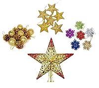 [COSMIC TREE] クリスマス トップツリー オーナメント デコレーション セット 松ぼっくり スター スノー 結晶 飾り(レッドスター)