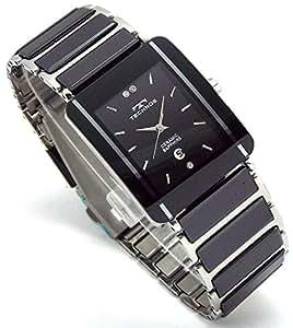 TECHNOS テクノス メンズ腕時計 クラシック セラミック ブラックダイヤル 本革ブレスセット TSM903TB-SET [並行輸入品]