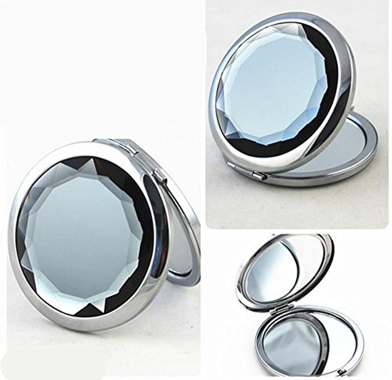 苦しみバング高層ビルSHINA 宝石飾りのコンパクトミラー クリスタル調化粧鏡拡大鏡付き 丸型の折りたたみ鏡 化粧箱入りミラー 手鏡 おしゃれの小物 (mirror-1-E)