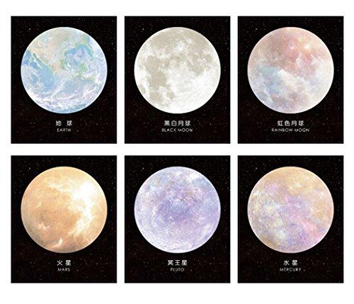 【LOUJO】 付箋 6点セット ネオン付箋 星柄 おしゃれ かわいい 地球 火星 水星 月 冥王星 メモ 文具 ポケット ノート メモ帳 メッセージカード 大人買い 6デザイン 30枚入