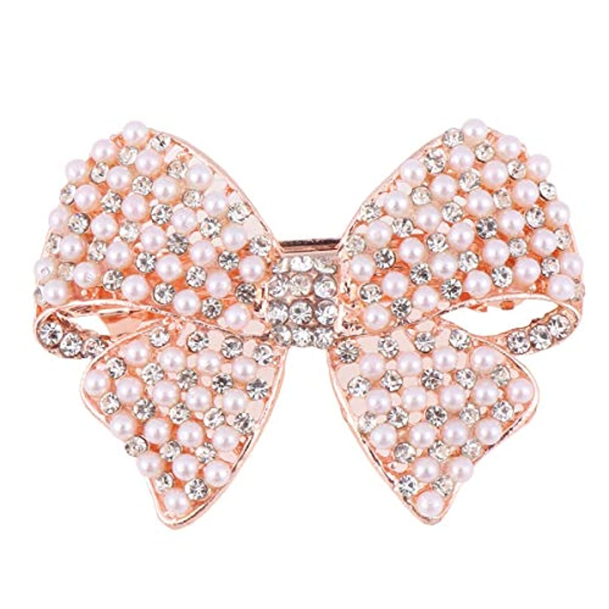 ダイヤルオンス根拠Beaupretty 女性のための真珠の弓のヘアクリップラインストーンヘアピンヘッドドレスバレッタちょう結び