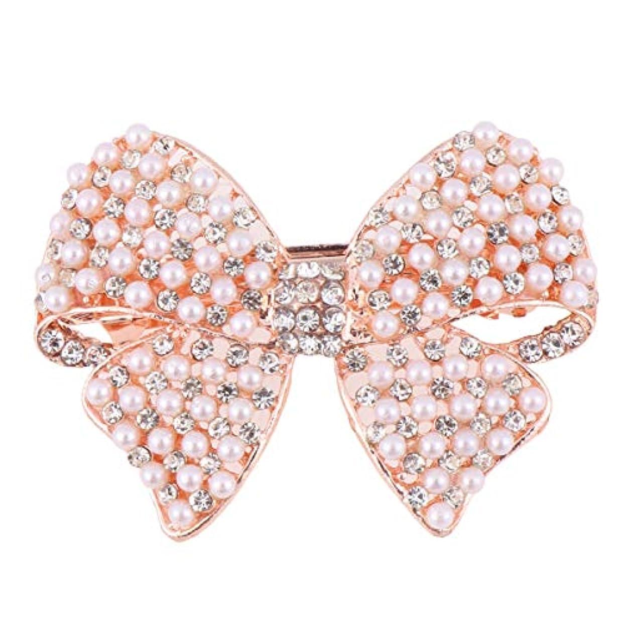 隙間ピストン蒸し器Beaupretty 女性のための真珠の弓のヘアクリップラインストーンヘアピンヘッドドレスバレッタちょう結び