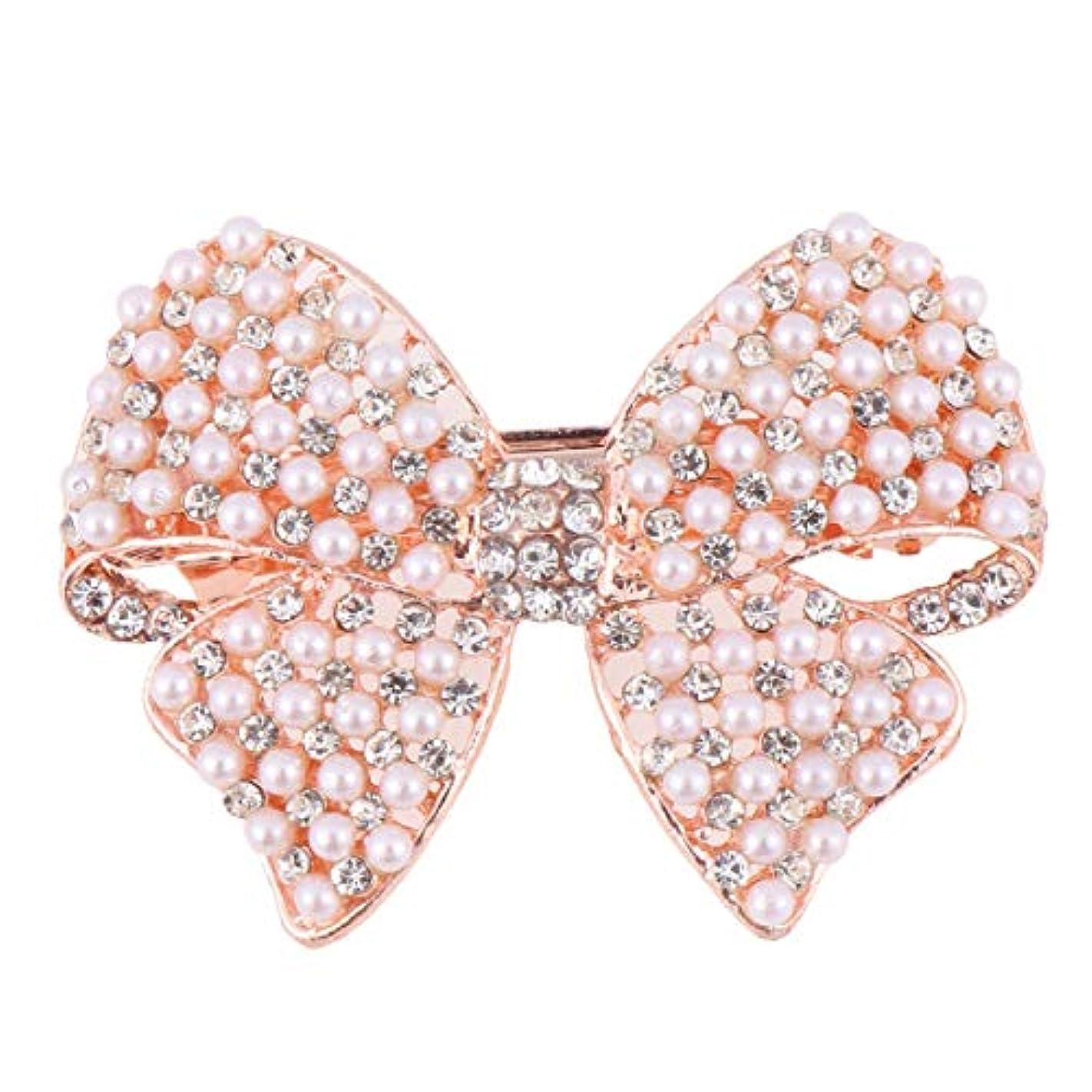 エチケット胚哲学的Beaupretty 女性のための真珠の弓のヘアクリップラインストーンヘアピンヘッドドレスバレッタちょう結び