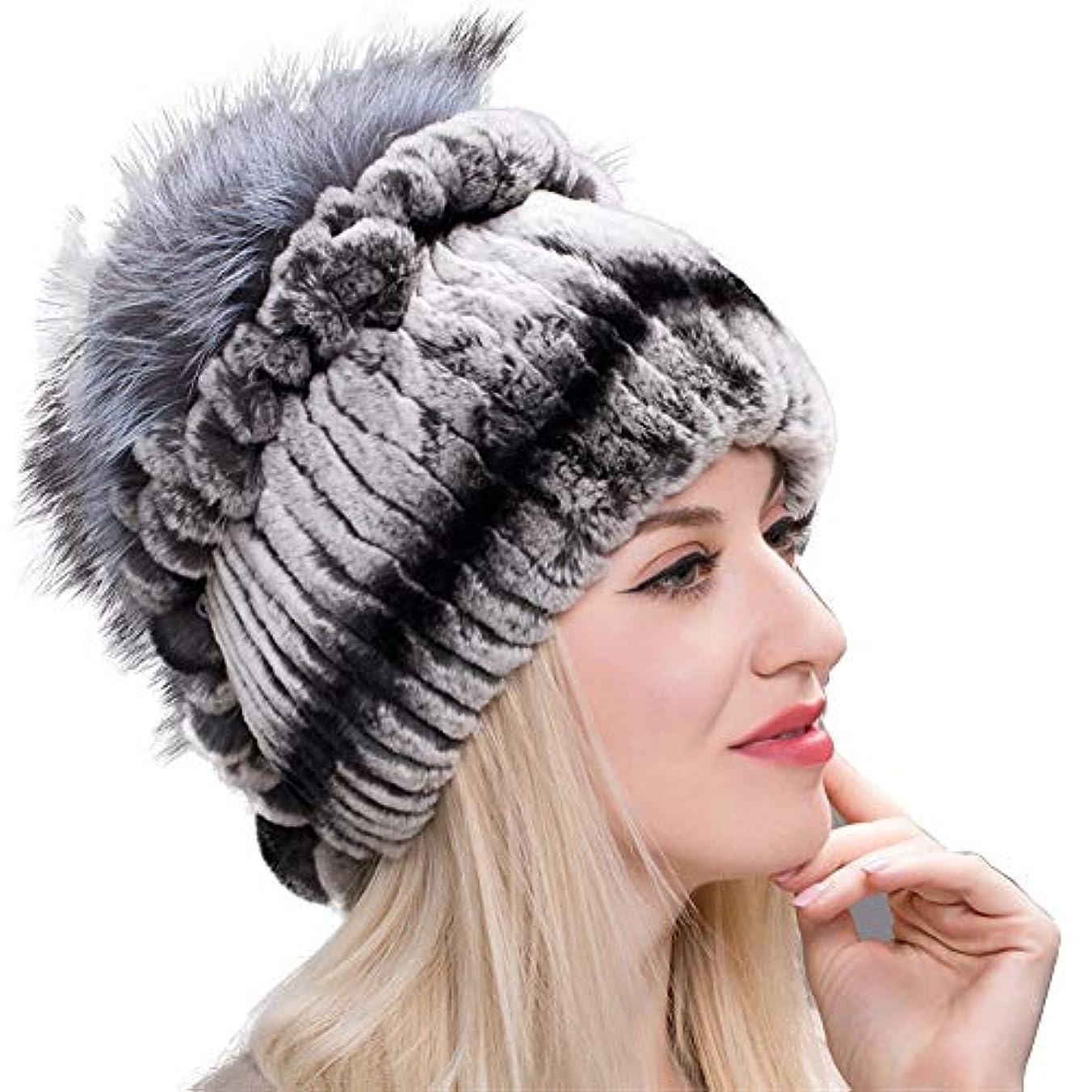 研究所クレア不適ACAO さんの秋と冬レッキスの毛皮の帽子ニットウールキャップ耳のファッションの女性の野生の花のキツネの毛皮の帽子は包頭に暖かく保つために (色 : Cyan blue, Size : M)