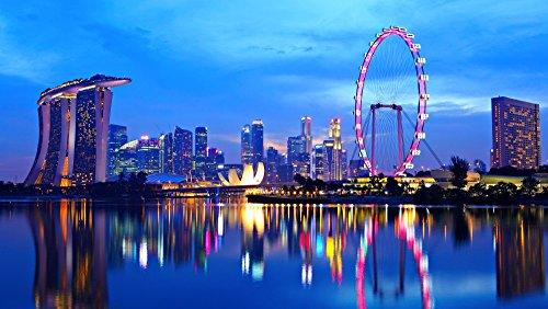 絵画風 壁紙ポスター (はがせるシール式) シンガポール 夕暮れ 夜景 パノラマ マリーナ・ベイ キャラクロ SGP-006S1 (1024mm×576mm) 建築用壁紙+耐候性塗料