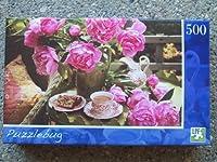 Puzzlebug–500-pieceパズル–Peonies & English Tea by LPF