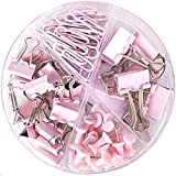 Paper Clips and Binder Clips Push Pins Set and Holder, Syitem Non-Skid Map Tacks Thumbtacks Clips Kits with Container for Off