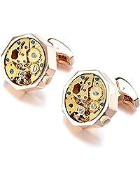 JAJAFOOK Cufflinks 2 PCS Brass Mechanical Watch Movement Shape Steampunk Cufflinks Gifts for Men