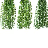 観葉植物 壁掛け ブドウの葉  造花 人工 壁掛 グリーン 緑 植物 吊り (1本)