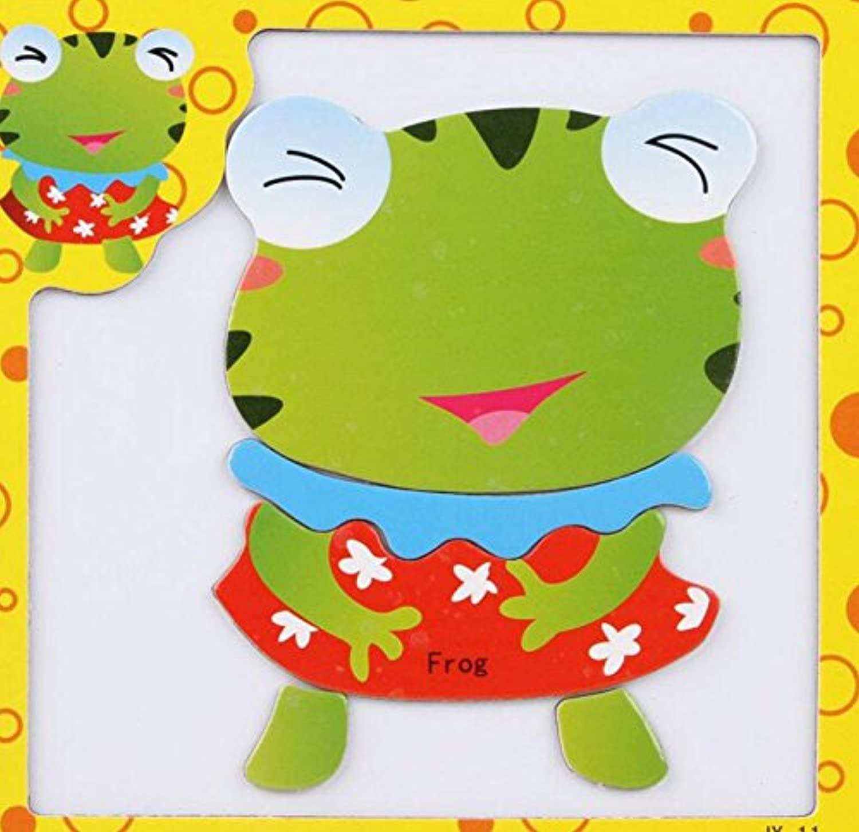 HuaQingPiJu-JP 創造的な教育的な磁気パズルアーリーラーニング番号の形の色の動物のおもちゃキッズ(カエル)のための素晴らしいギフト