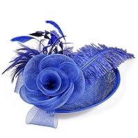 女性の帽子 波のダチョウ羽の春と夏の宴会帽子,ロイヤルブルー