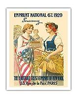 ナショナル・ローン1920 - 購読します - ニューヨーク、パリの公平信託会社 - ビンテージな広告ポスター によって作成された ギラウーム・セイニャック c.1920 - アートポスター - 28cm x 36cm