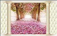 Bzbhart 3D壁紙壁画シルクの壁のステッカーテレビの設定夢桜の木の絵画 の壁の壁画-450cmx300cm