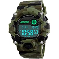 Kids Digital Watches, Boys Sports Military Watch with Alarm/Timer/Shock Resistant, Teenagers Childrens 5 Bars Waterproof Big Face Camouflage Electronic Wrist Watch for Boys