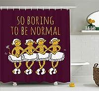 GooEoo おかしいバレリーナダンスサル普通の動物の装飾シャワーカーテン生地浴室の装飾セットになるのはつまらない71インチマリーゴールドマルーン
