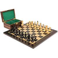 Yugoslavia Stauntonチェスセットin Ebonized Boxwood & Boxwood Macassar Ebonyボード&ボックス – 3.25