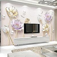 Bzbhart テレビの背景装飾画、壁用ステッカーカスタム壁画エレガントミニマリストジュエリーステレオチューリップ壁布壁紙用3dリビングルームテレビ壁カバー壁紙-400cmx280cm