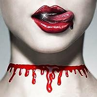 ハロウィンパーティープロップデコレーション 血まみれの首 ホラー 血のチョーカー 襟 ネックレス