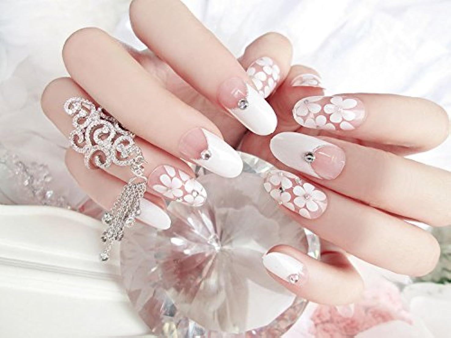 24枚入 可愛い優雅ネイル 手作りネイルチップ 和装 ネイル 結婚式、パーティー、二次会など 予め接着した爪 中等長ネイルチップ (B21)