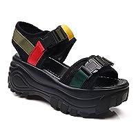 サンダル 厚底 歩きやすい ウェッジソール 痛くない7cmヒール フットベッド ブラックウェッジサンダル 美脚 レディース クロスベルト