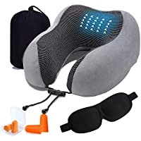 Travel Pillow, TERSELY Memory Foam Neck Pillow for Airplane Breathable & Washable Velour Cover Ergonomic Neck Support Pillow with Sleep Mask & Earplugs