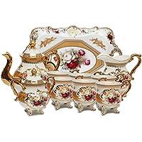 Royalty 10ピース磁器ヴィンテージrose-decoratedダイニングお茶カップセット、サービスの6、ハンドメイド&手描き、24 K金メッキBone Chinaテーブルウェア