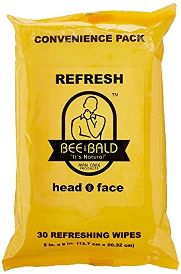 無限道徳ピアースBee Bald Refresh Head and Face Wipes 30 wipes by Bee Bald