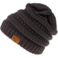Prettyia Women Ponytail Beanie Knit Hat Stretchy Cap Ponytail Hole Winter Outdoor Hat